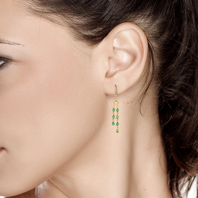 Pear Cut Pear Shape Emerald and Diamond Yellow Gold Hoop Drop Earrings For Sale
