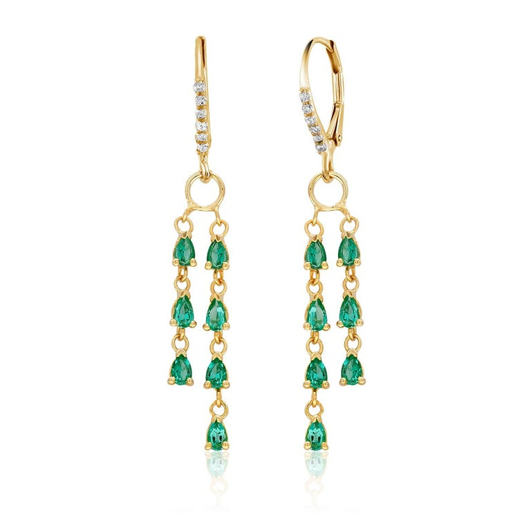 Contemporary Pear Shape Emerald and Diamond Yellow Gold Hoop Drop Earrings For Sale