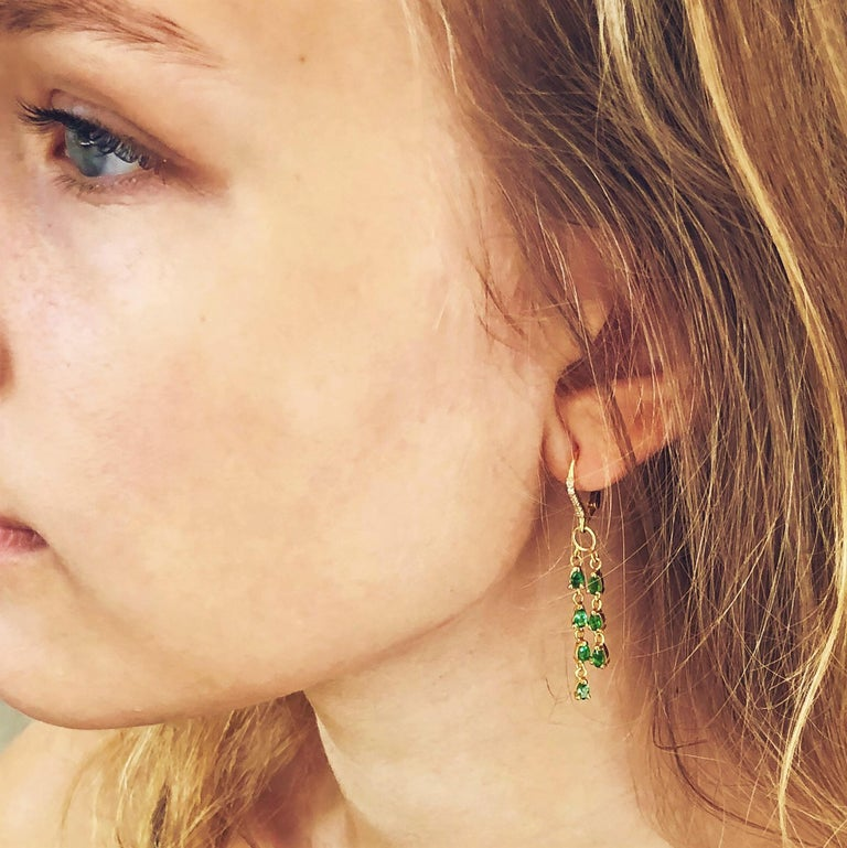 Pear Shape Emerald and Diamond Yellow Gold Hoop Drop Earrings In New Condition For Sale In New York, NY
