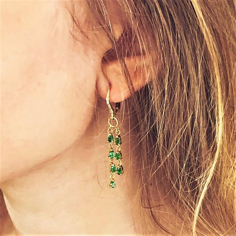 Pear Shape Emerald and Diamond Yellow Gold Hoop Drop Earrings For Sale 1