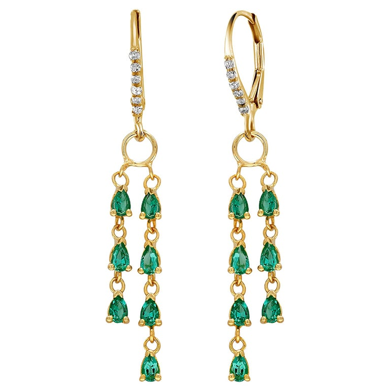 Pear Shape Emerald and Diamond Yellow Gold Hoop Drop Earrings For Sale