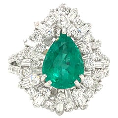 Pear Shape Emerald Diamond Cocktail Ring 4.65 Carat 14 Karat White Gold