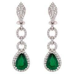 Pear Shape Emerald & Diamond Drop Earrings in 18k White Gold