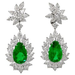 Pear Shape Emerald Diamond Earrings