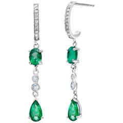 Pear Shape Emerald Diamond Hoop Gold Drop Earrings