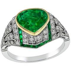 Pear Shape Emerald Diamond Platinum Ring