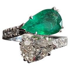 Pear Shape Emerald Diamond Toi Et Moi Crossover Engagement Ring White Gold 2000s