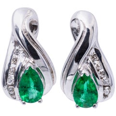 Pear Shape Emerald Diamond White Gold Earrings