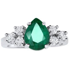 Pear Shape Emerald Engagement Ring
