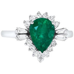 Pear Shape Natural Emerald Engagement Ring Baguette Round Halo 14K White Gold