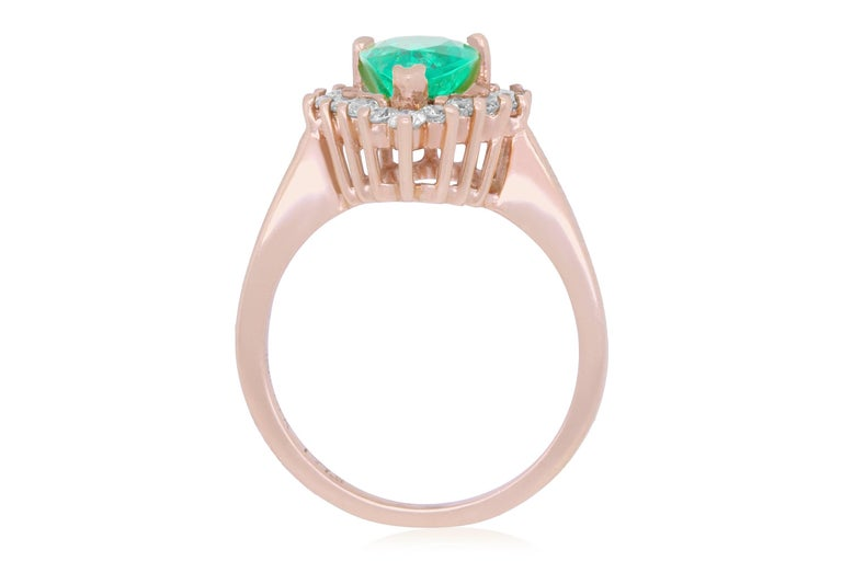 Material: 14k Rose Gold Gemstones: 1 Pear shaped Emerald at 1.75 Carats.  Diamonds: 16 Brilliant Round White Diamonds at 0.54 Carats. Ring Size: 6.5. Alberto offers complimentary sizing on all rings.  Fine one-of-a kind craftsmanship meets