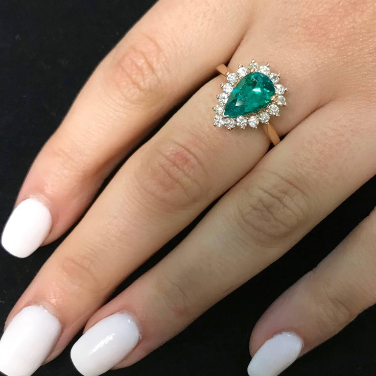 Pear Cut Pear Shape Emerald Halo Engagement Ring in Rose Gold For Sale