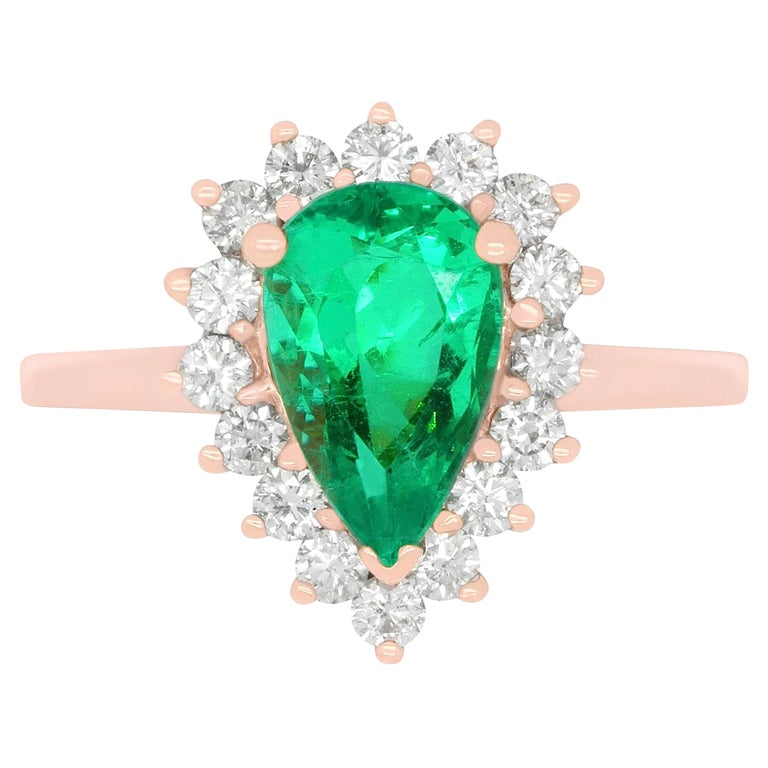 Pear Shape Emerald Halo Engagement Ring in Rose Gold For Sale