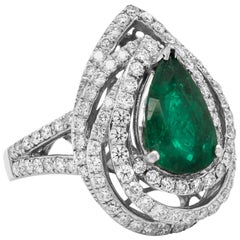 Pear Shape Emerald White Gold and Diamond Cocktail Ring