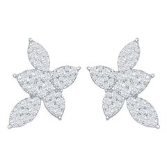 2 Carats Pear Shape Flower Earrings