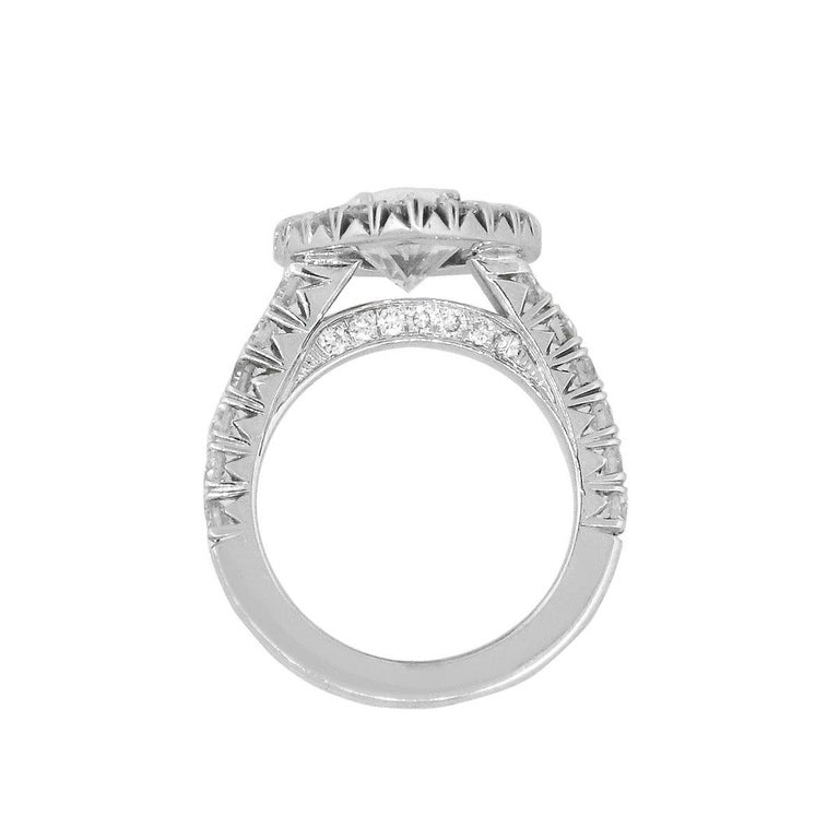 Pear Cut Pear Shape GIA Diamond Halo Engagement Ring For Sale
