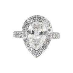 Pear Shape GIA Diamond Halo Engagement Ring