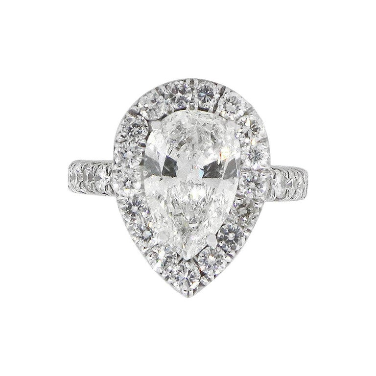 Pear Shape GIA Diamond Halo Engagement Ring For Sale