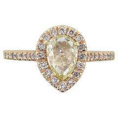 Pear Shape GIA Diamond Halo Ring
