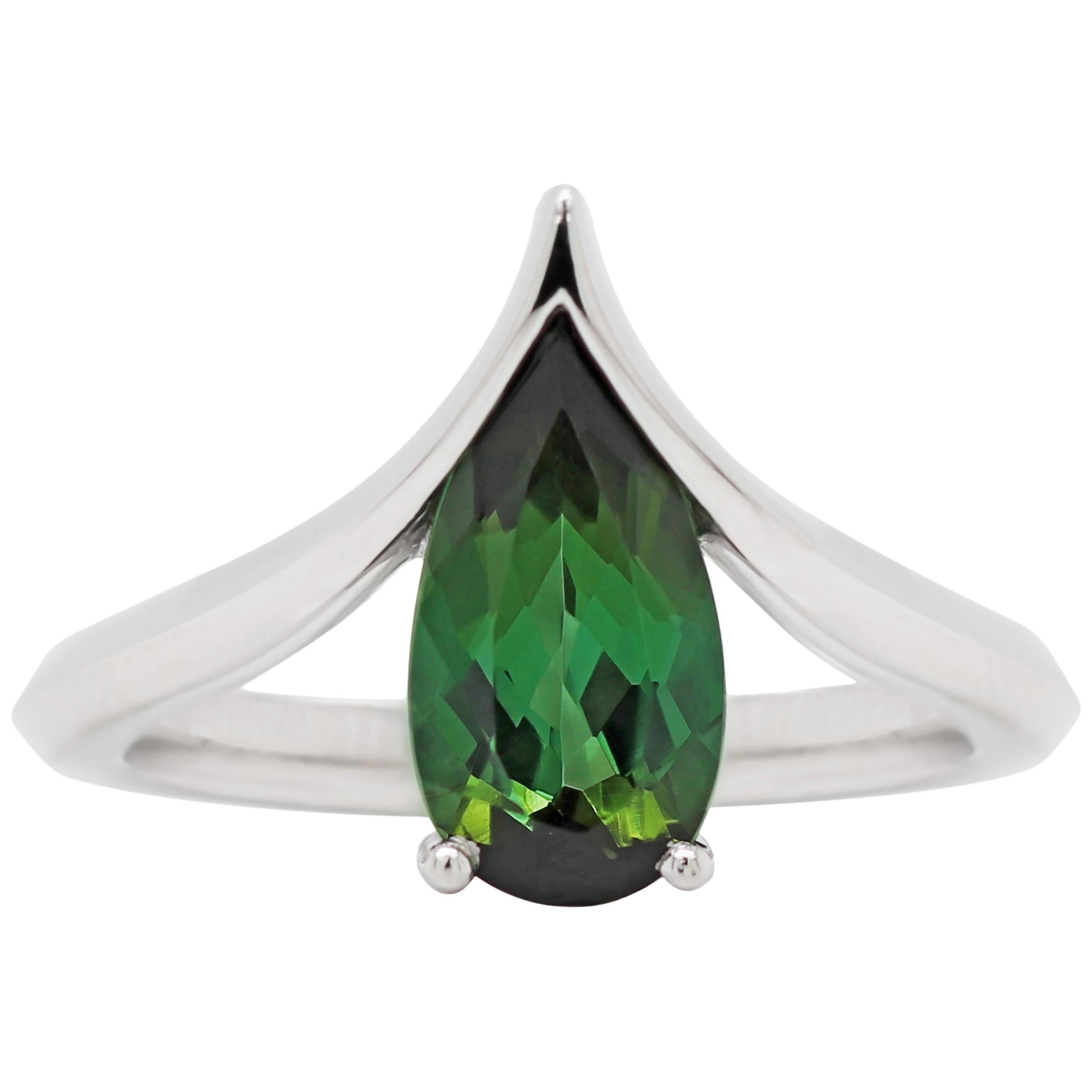 Pear Shape Green Tourmaline Platinum Wishbone Ring