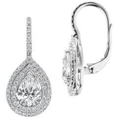 Pear Shape Halo Diamond Earrings on Wires