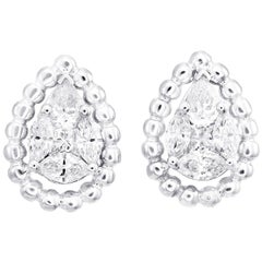 Pear Shape Illusion Diamond Stud Earring in 18 Karat White Gold