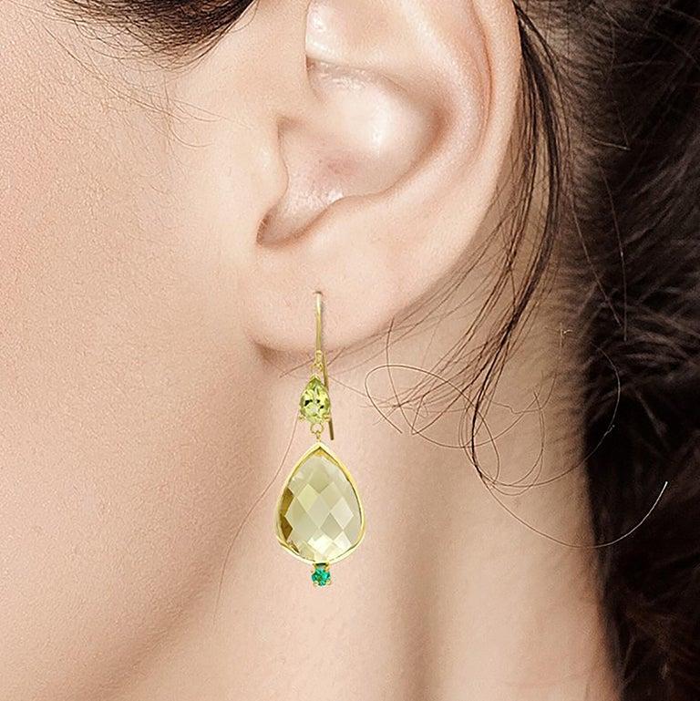 Pear Cut Pear Shape Lemon Citrine Emerald Peridot Bezel Set Two Inch Gold Hoop Earrings For Sale
