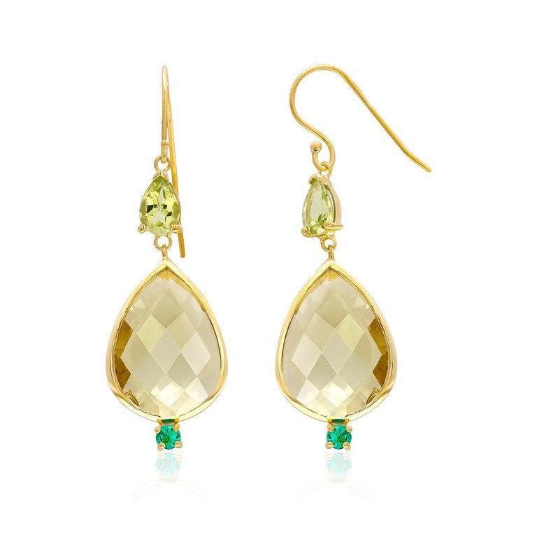 Women's Pear Shape Lemon Citrine Emerald Peridot Bezel Set Two Inch Gold Hoop Earrings For Sale