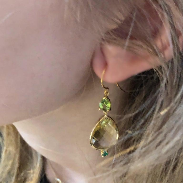 Contemporary Pear Shape Lemon Citrine Emerald Peridot Bezel Set Two Inch Gold Hoop Earrings For Sale