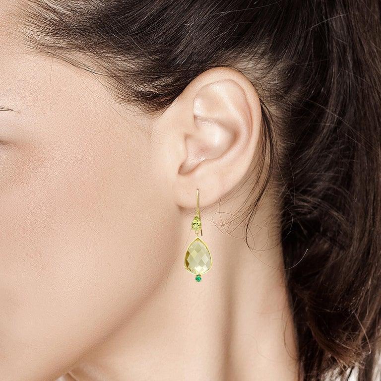 Pear Shape Lemon Citrine Emerald Peridot Bezel Set Two Inch Gold Hoop Earrings For Sale 2