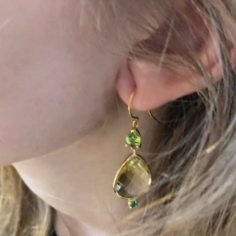 Pear Shape Lemon Citrine Emerald Peridot Bezel Set Two Inch Gold Hoop Earrings For Sale 1