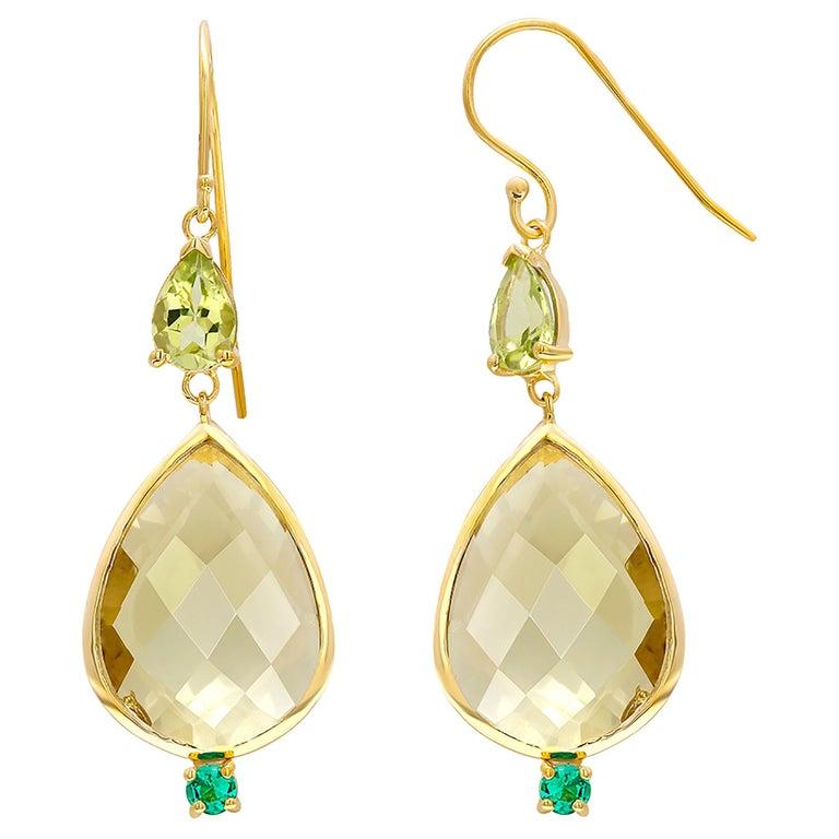 Pear Shape Lemon Citrine Emerald Peridot Bezel Set Two Inch Gold Hoop Earrings For Sale