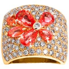 Pear Shape Mexican Opal 18 Karat Yellow Gold Diamond Wide Cigar Band Ring