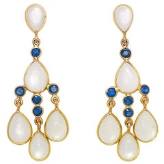 Pear Shape Moonstone and Blue Sapphire Chandelier Earrings, 18 Karat Yellow Gold