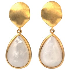 Pear-shape Cabochon Mother of Pearl Vermeil Drop Earrings