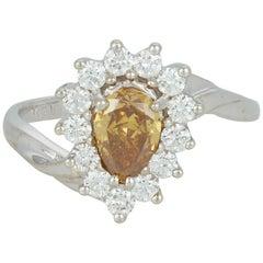 Pear Shape Natural Yellow Diamond Halo Engagement Ring 14 Karat White Gold