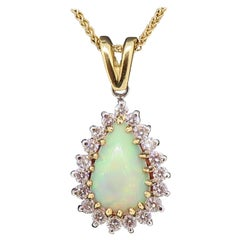 Pear Shape Opal & Diamond Cluster Pendant 18 Karat Yellow and White Gold