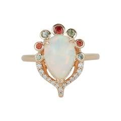 Pear Shape Opal Multicolor Sapphire Bezel Diamond 14k Yellow Gold Abstract Ring