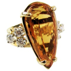 Pear Shape Orange Imperial Topaz and Diamond Cocktail Ring 14 Karat Yellow Gold