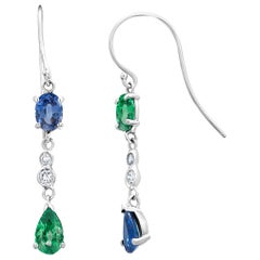 Pear Shape Oval Emerald Mirror Alternating Sapphire Diamond Hoop Drop Earrings