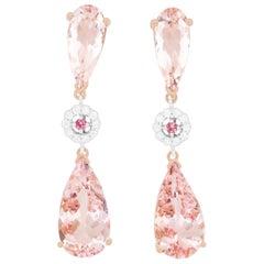 Pear Shape Pink Morganite, Pink Tourmaline and White Diamond Earrings 14K Gold