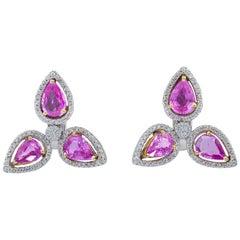 Pear Shape Pink Sapphire and Diamond Halo Drop Earrings