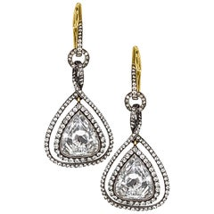 Pear Shape Rose-Cut Diamond Earrings