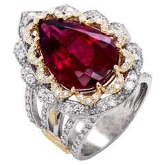 Pear Shape Rubelite White Yellow Gold and Diamond Cocktail Ring Stambolian