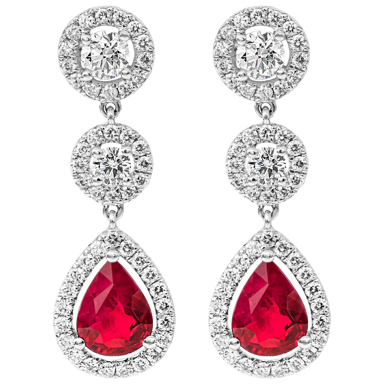 Pear Shape Ruby and Diamond Halo Dangle Earrings