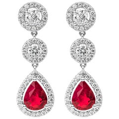 Pear Shape Ruby and Diamond Halo Dangle Earrings