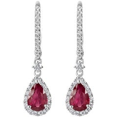 Roman Malakov, Pear Shape Ruby and Diamond Halo Dangle Earrings