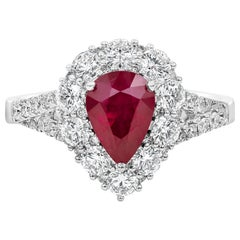 Pear Shape Ruby and Diamond Halo Engagement Ring