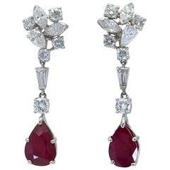 Pear Shape Ruby and Mixed Cut Diamond Dangle Earrings