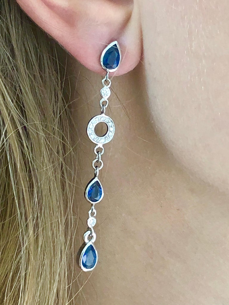 Modern Pear Shape Sapphire and Diamond 2.5 Inch Long Earrings Weighing 5.60 Carat  For Sale